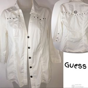 GUESS STRETCH WHITE BUTTON UP 3/4 sleeve Med